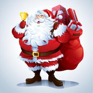 Deda Mraz nosi džak poklona i drži zvono u ruci