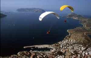 Slika iz vazduha na kojoj se vide dva paraglajdera i more